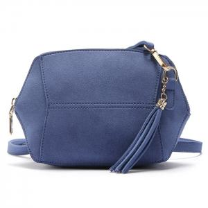 Tassels Geometric Shape Crossbody Bag - Blue