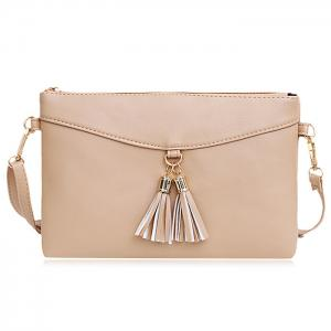 Tassels Faux Leather Crossbody Bag - Apricot - 41