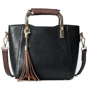 Metal Handle Tassels Handbag