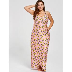 Robe Cache-Maillot Longue Enroulée Grande Taille -