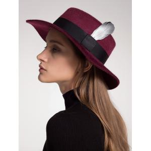 Ribbon Feather Embellished Wool Blended Hat - Wine Red