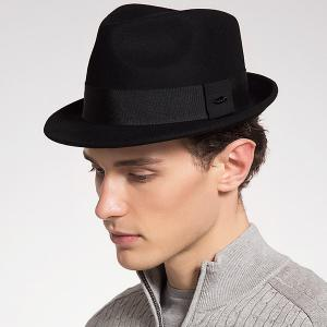 Plain Ribbon Embellished Wool Blending Fedora Hat - Black