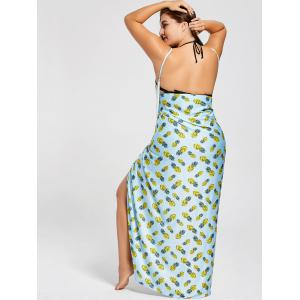 Plus Size Cover Up Wrap Maxi Dress - CLOUDY 5XL