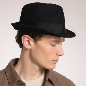 Woolen Blended Plain Ribbon Embellished Fedora Hat - Black
