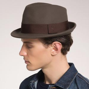 Woolen Blended Plain Ribbon Embellished Fedora Hat - Coffee