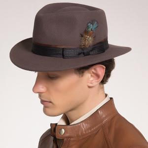 Ribbon Bowknot Feather Embellished Fedora Hat - Coffee