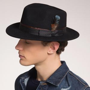 Ribbon Bowknot Feather Embellished Fedora Hat - Black