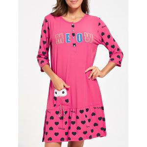 Hearts Print Nursing Shift Night Dress