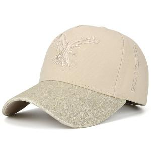 Letters Eagle Embroidered Baseball Cap - Beige