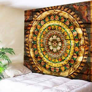 Flower Print Wall Art Tapestry - Brown - W79 Inch * L59 Inch
