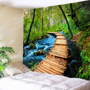 Forest Streams Path Print Tapestry Wall Hanging Art Decoration - Green - W59 Inch * L51 Inch