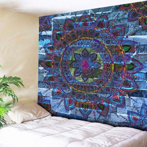 Mandala Floral Print Wall Hanging Tapestry - Blue - W79 Inch * L59 Inch