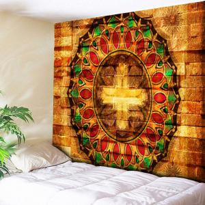 Wall Brick Mandala Print Tapestry - Light Brown - W79 Inch * L59 Inch