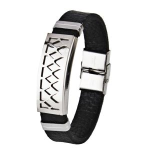 Faux Leather Stainless Steel Geometric Bracelet