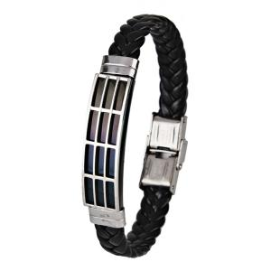 Faux Leather Braid Stainless Steel Bracelet