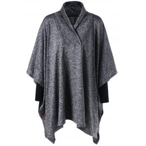 Plus Size Shawl Collar Tunic Top - Gray - 4xl