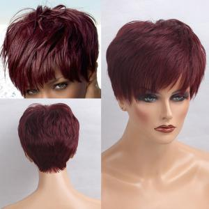 Short Inclined Bang Layered Straight Human Hair Wig - Wine Red