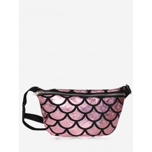 Scale Pattern Zipper Fanny Pack - Light Pink - 37