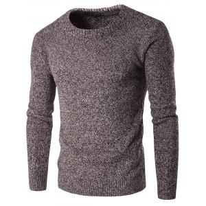 Heathered Crew Neck Pullover Jumper - Coffee - Xl