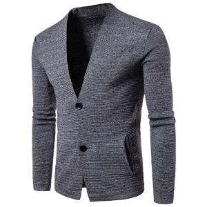 Button Up V Neck Textured Cardigan