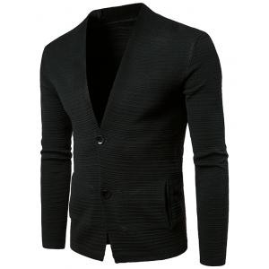 Button Up V Neck Textured Cardigan - Black - Xl