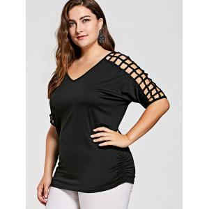 Crochet Sleeve Plus Size Tunic Cover Up Top - BLACK XL