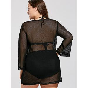 Plus Size Long Sleeve Mesh Cover Up Tunic Top - BLACK XL