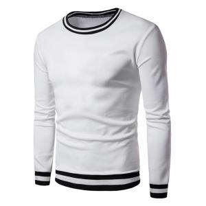 Long Sleeve Stripe Rib Panel Sweatshirt