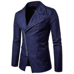Turndown Collar Oblique Zip Up Edging Blazer