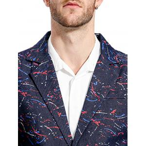 Splatter Paint Lapel One Button Blazer - Bleu Foncé M