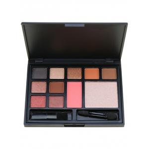 11 Colors Multipurpose Face Cosmetic Palette with Brushes - Pink