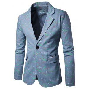 Splatter Paint Lapel One Button Blazer - Light Blue - M