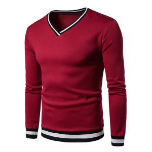 Stripe Rib Panel V Neck Sweatshirt