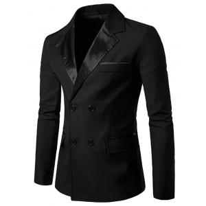 PU Leather Panel Edging Double Breasted Blazer - Black - 2xl