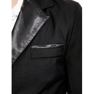 PU Leather Panel Edging Double Breasted Blazer - BLACK 2XL