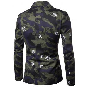 Lapel Camouflage Floral One Button Blazer - CAMOUFLAGE M