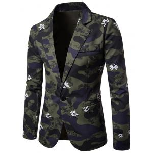 Lapel Camouflage Floral One Button Blazer