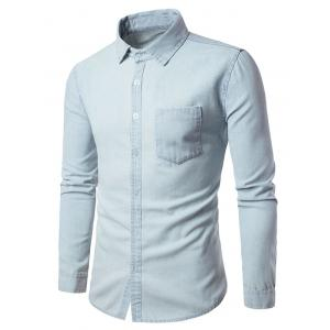 Long Sleeve Pocket Chambray Shirt