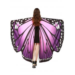 Oversize Chiffon Butterfly Wing Design Strap Cape - Purple