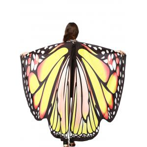 Oversize Chiffon Butterfly Wing Design Strap Cape - Yellow - 2xl