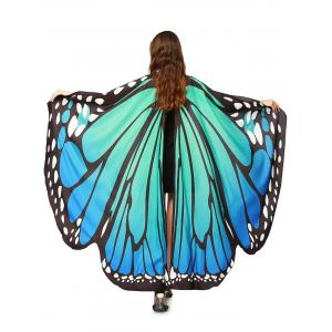 Oversize Chiffon Butterfly Wing Design Strap Cape - Blue Green - Xl