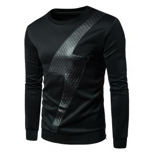PU Leather Lightning Side Zip Sweatshirt