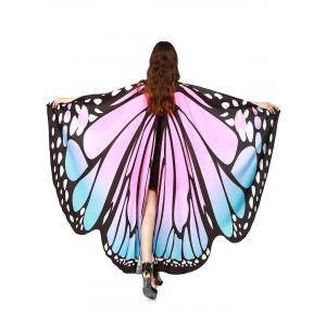 Oversize Chiffon Butterfly Wing Design Strap Cape - Light Pink