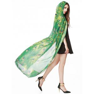 Chiffon Peacock Pattern Festival Long Hooded Cape - Green