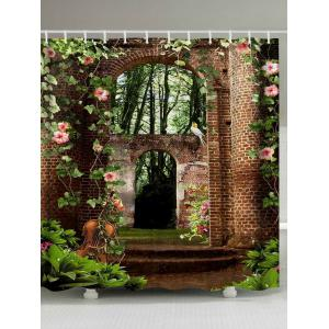 Floral Brick House Print Fabric Waterproof Bathroom Shower Curtain - Colormix - W71 Inch * L79 Inch