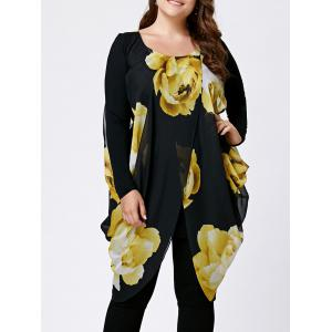 Chiffon Slit Floral Plus Size Tunic Top