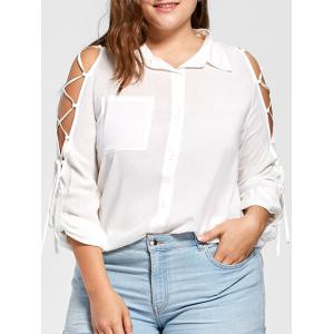 Plus Size Lace Up High Low Blouse