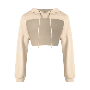 Open Front Sports Long Sleeve Cropped Hoodie - KHAKI ONE SIZE