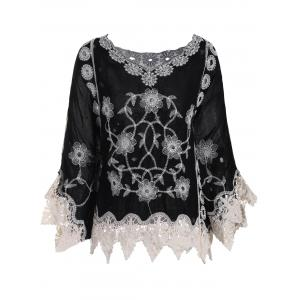 Batwing Sleeve Plus Size Crochet V-neck Top