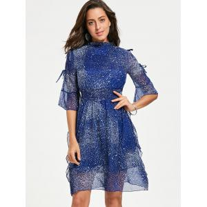 Robe de cocktail en mousseline - Bleu 2XL